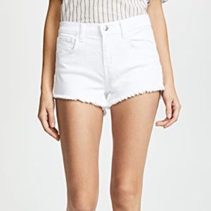 L'Agence White Frayed Denim Shorts